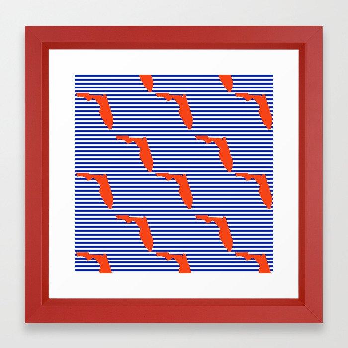 9673e26a04a1e Florida university gators orange and blue college sports football stripes  pattern Framed Art Print by varsity