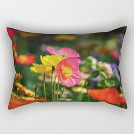 Frivolous Blooming Coral, Red and Yellow Anemones in Spring Rectangular Pillow