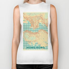 Hong Kong Map Retro Biker Tank