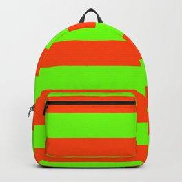 Bright Neon Green and Orange Horizontal Cabana Tent Stripes Backpack