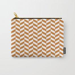 Ocher Orange Herringbone Pattern Design Carry-All Pouch