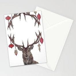 Stag with Baubles Stationery Cards