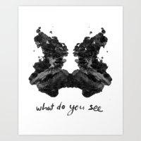 rorschach Art Prints featuring Rorschach by greta skagerlind