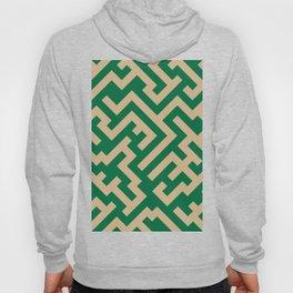 Tan Brown and Cadmium Green Diagonal Labyrinth Hoody