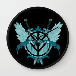 Shield Maiden Winged Teal Viking Shield Wall Clock