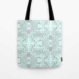 Dotted Floral Scroll in Mint and Grey Tote Bag