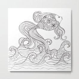 zen goldfish and waves Metal Print