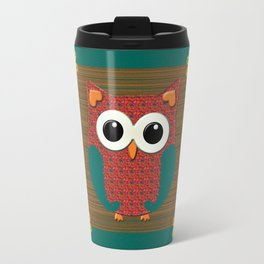 Cute Pink and Teal Floral Owl  Travel Mug