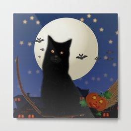 Halloween cat, Halloween, cat, moon, pumpkin, Halloween pumpkin, Halloween night, bats Metal Print