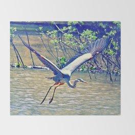 Flying (Blue Heron) Throw Blanket