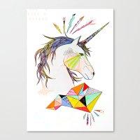 unicorn Canvas Prints featuring Unicorn by Belén Segarra