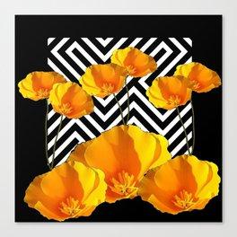 BLACK & WHITE CALIFORNIA YELLOW POPPIES ART Canvas Print