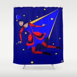 A Puppet Lady with Rose and Smile, Steampunk Style Shower Curtain