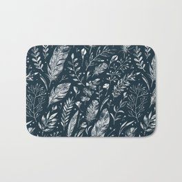 Feathers And Leaves Abstract Pattern Black And White Bath Mat