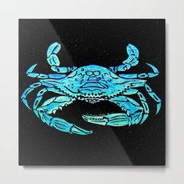 Blue Crab Stencil Design By Catherine Coyle Metal Print