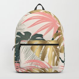 Tropical Print with Gold Backpack