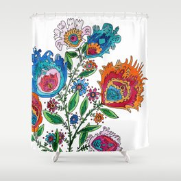 Folkart Bouquet Shower Curtain