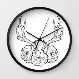 Deer vs Flowers Wall Clock