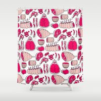 meat Shower Curtains featuring Meat by Rot Rabbit