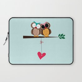 Love owls on the branch, blue background Laptop Sleeve