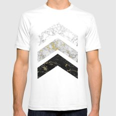Gold Flecked Marble Chevrons SMALL White Mens Fitted Tee