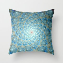 Spiral of Spirals in Blue and White Throw Pillow