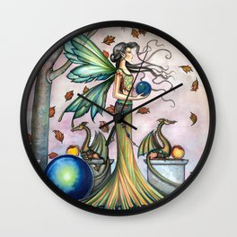 Hope Stones Fairy and Dragons Fantasy Illustration by Molly Harrison Wall Clock