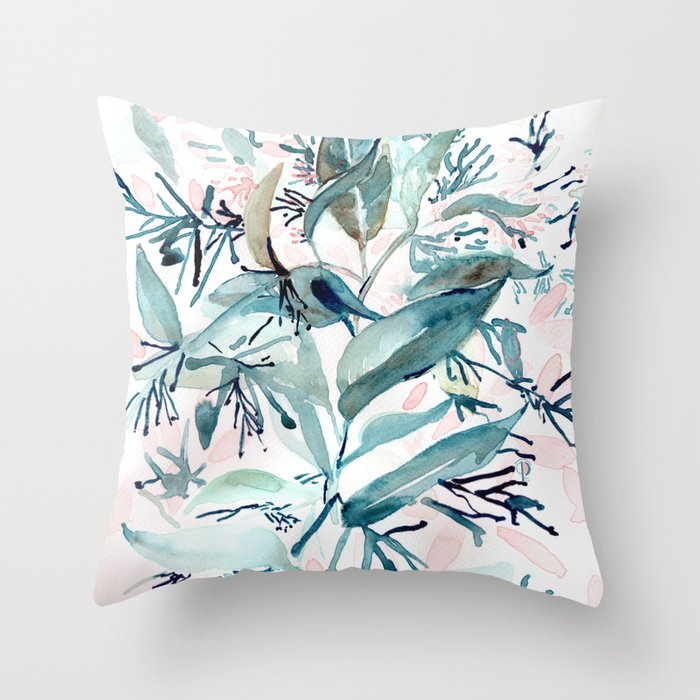 """G. Hand painted watercolor art """"Botanical Illusion"""" Throw Pillow"""