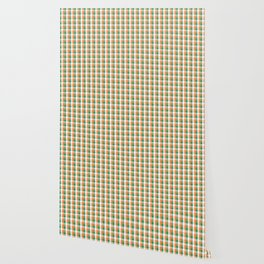 Orange White and Green Irish Gingham Check Plaid Wallpaper