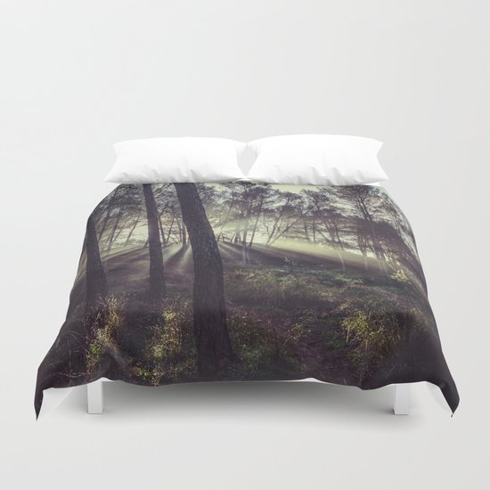 """""""Forest dreams"""". Sunrise through the foggy forest Duvet Cover"""