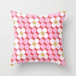 dotty flowers Throw Pillow