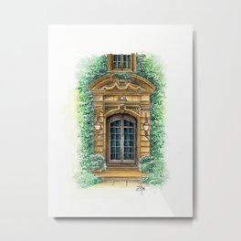 Parisian Door In Watercolor Metal Print