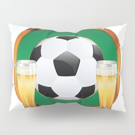 Two beer glasses and soccer ball in green circle Pillow Sham