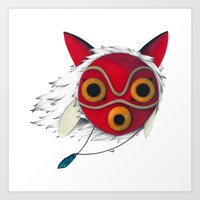 mononoke Art Prints featuring Mononoke Mask  by Puddingshades