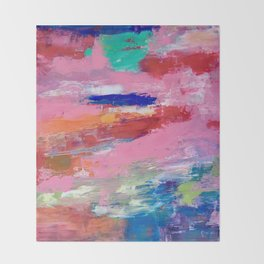 Lucky #13, a contemporary abstract in pinks and fuchsias Throw Blanket