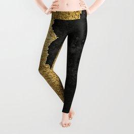 Gold torn & black grunge Leggings