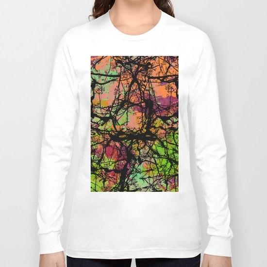 Cracks And Colour - Pastel orange, blue and green abstract with black marble effect Long Sleeve T-shirt