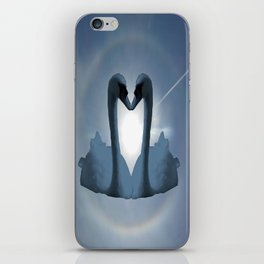 Two Blue Swans Inside Sun's Halo iPhone Skin