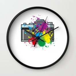 Colored Camera Gift Idea for photographer Wall Clock