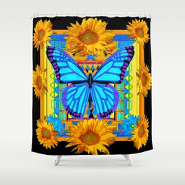 Golden Sunflowers Blue Butterfly black Art Shower Curtain