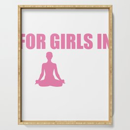 Vote Yes For Girls Women in Yoga Pants Fitness Yogi T Shirt Serving Tray