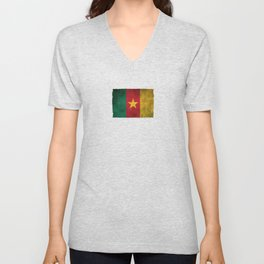 Old and Worn Distressed Vintage Flag of Cameroon Unisex V-Neck