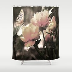 Petal Pink Rose And Butterfly Shower Curtain