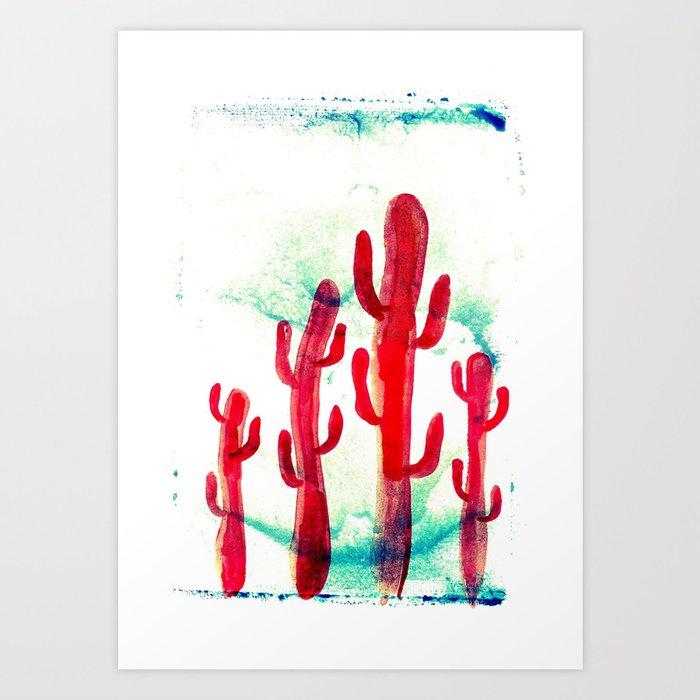 Red desert cactus Art Print