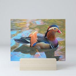 Beautiful Mandarin Duck at the Pond Mini Art Print