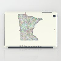 minnesota iPad Cases featuring Minnesota map by David Zydd