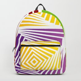 Colorful Squares twirling from the Center. Optical Illusion of PerspectiveColorful Squares twirling Backpack