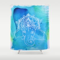 hindu Shower Curtains featuring Untitled (Elephant) by Aries Art