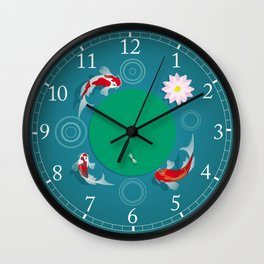 Koi swim in the clear water Wall Clock