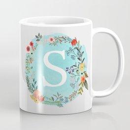 Personalized Monogram Initial Letter S Blue Watercolor Flower Wreath Artwork Coffee Mug